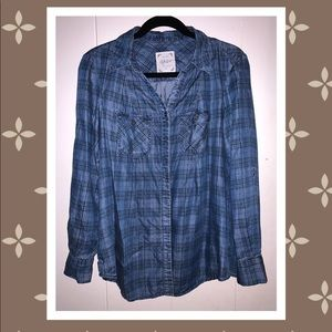 Style & Co Plaid Jeans Long Sleeve Button Top